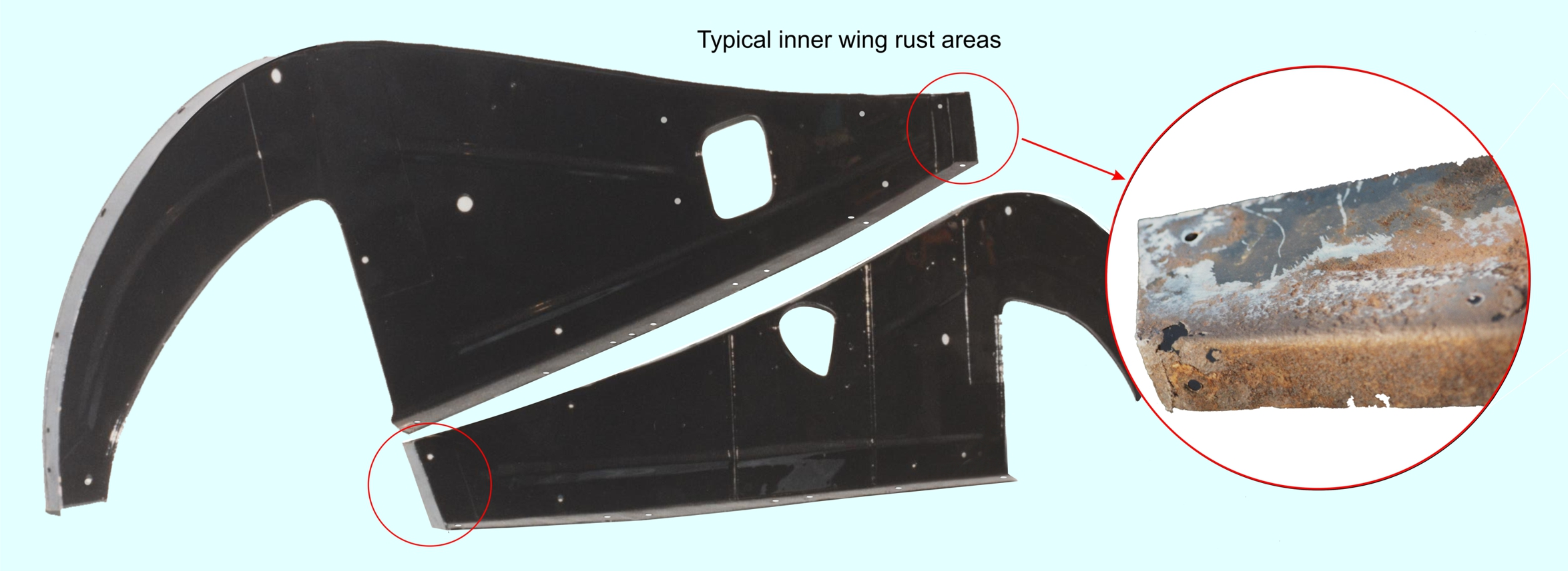 Typical inner wing rust